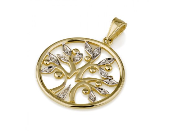 14K Gold Tree of Life set with Diamonds in Round Frame