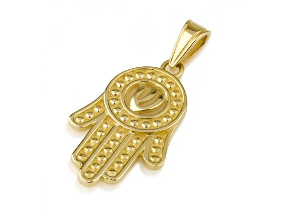 14K Gold Hamsa Pendant with Shin