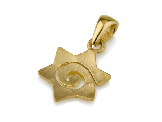 14K Yellow Matte Gold Star of David Pendant with a Spiral Cut
