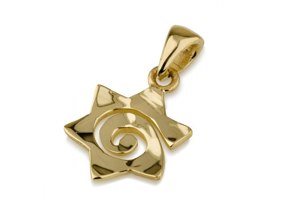 14K Yellow Shiny Gold Star of David Pendant with a Spiral Cut
