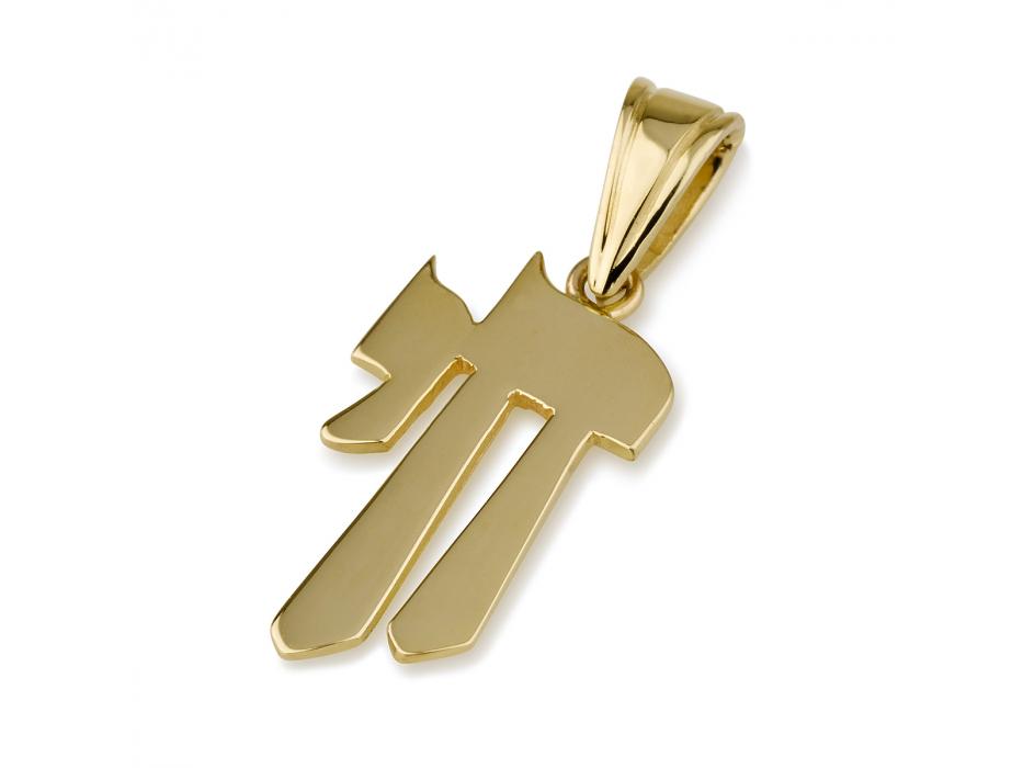 14K Gold Elongated Chai Pendant
