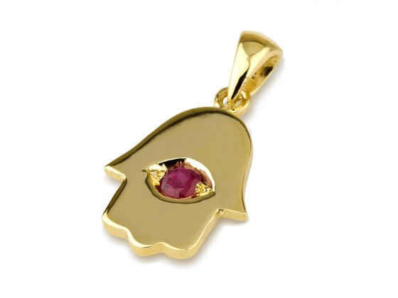 14K Yellow Gold Hamsa Necklace with Ruby Stone