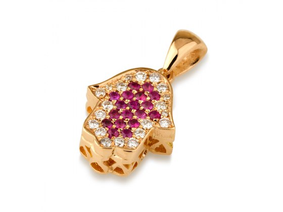 14K Rose Gold Hamsa Necklace set with Diamonds and Rubies