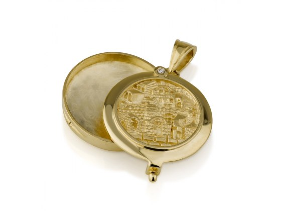 14K Gold Jerusalem Locket Necklace