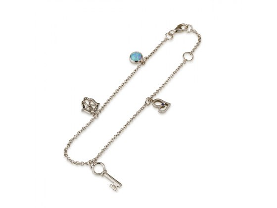 14K White Gold Charms Bracelet with Heart Hamsa and Key