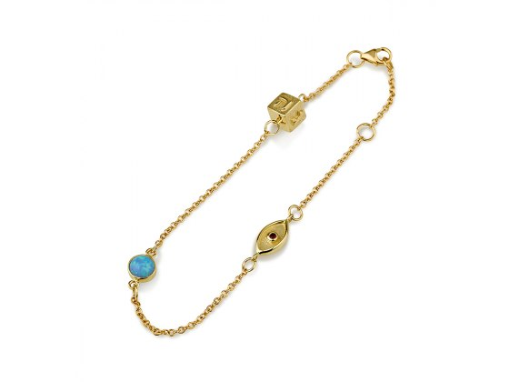 14K Yellow Gold Charms Bracelet with Dreidel and Evil Eye