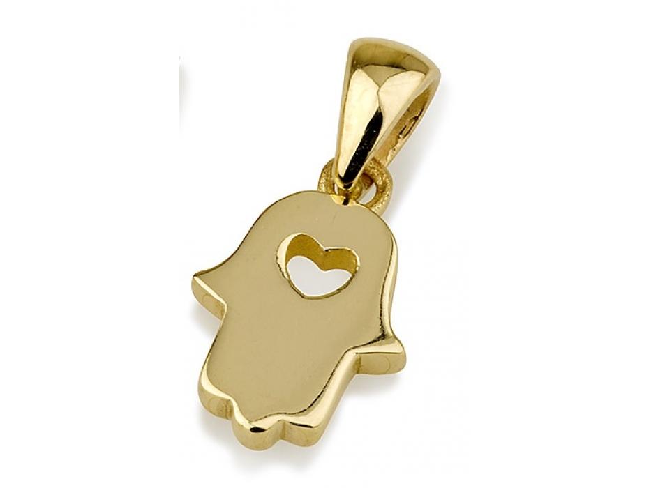 14K Shiny Yellow Gold Hamsa Necklace with Cutout Heart