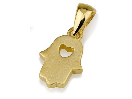 14K Textured Yellow Gold Hamsa Necklace with Cutout Heart