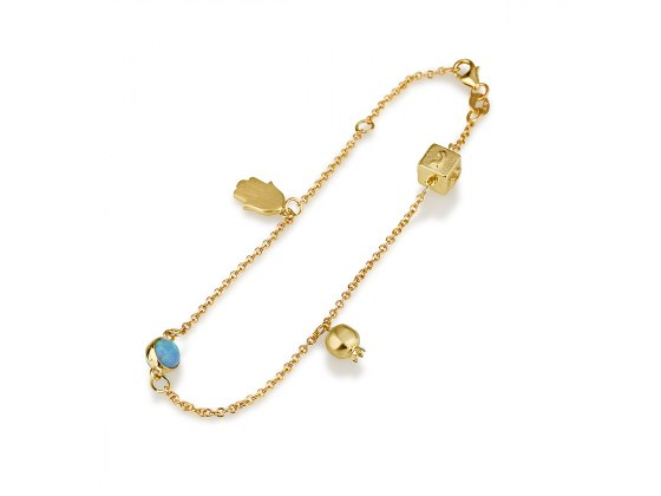 14K Yellow Gold Charms Bracelet with Hamsa Pomegranate and Dreidel