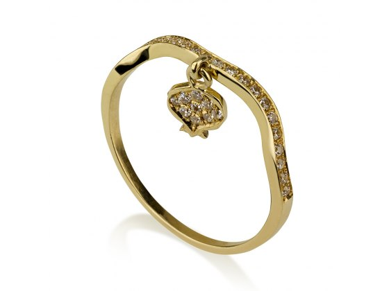 14K Gold Pomegranate Ring with Diamonds