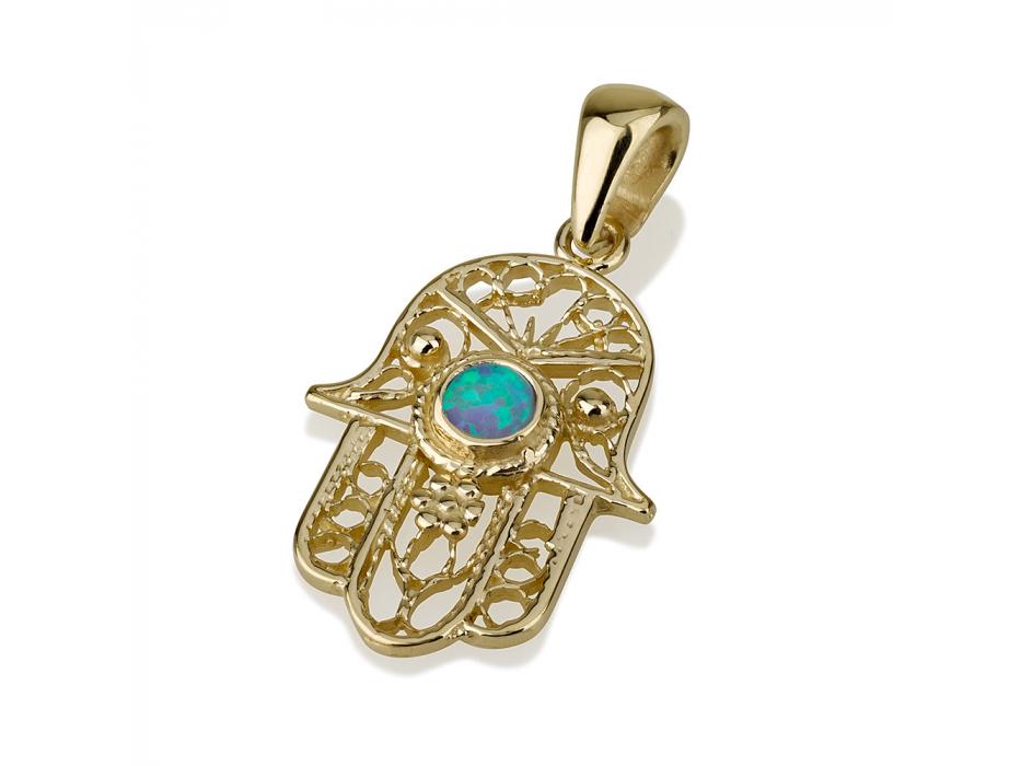 14K Filigree Gold Hamsa Necklace with Opal Stone