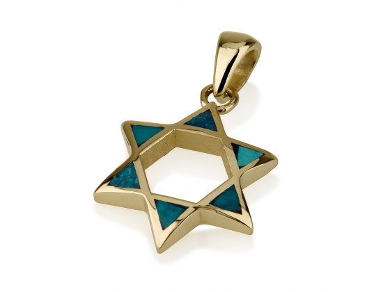 14K Gold and Eilat Stone Arched Star of David Necklace