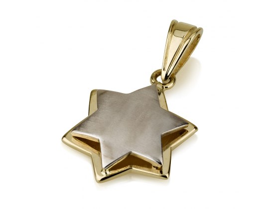 14K White and Yellow Gold Layers Star of David Pendant