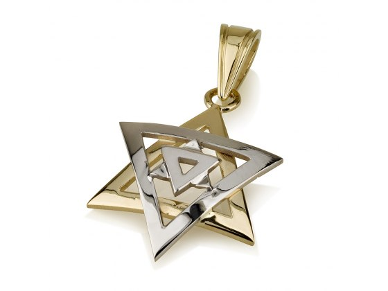 14K Gold Star of David Pendant White and Yellow Triangles