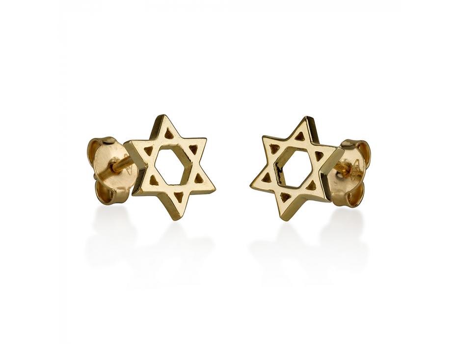 14K Gold Star of David Stud Earrings