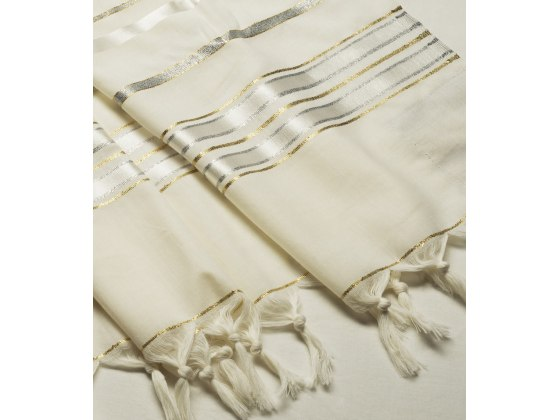 Talitania Hermon Wool Tallit with Silver and Gold Stripes