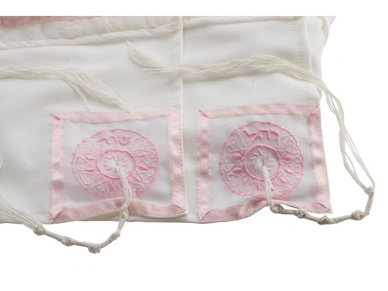 Galilee Silks Four Mothers Tallit with Pink Stripes