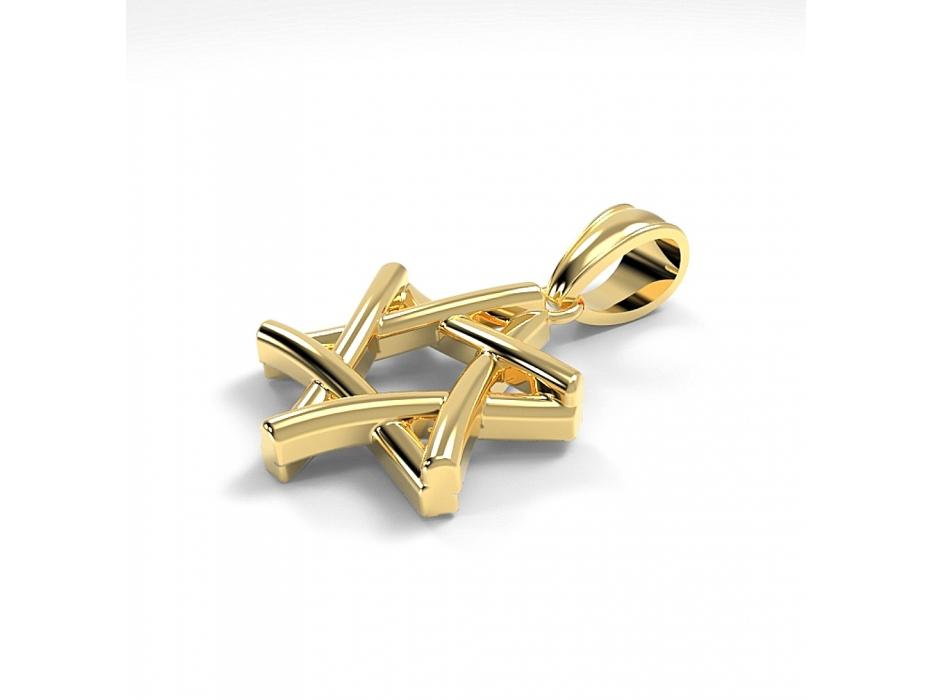 Modern 14K Gold Star of David Necklace Interlock Design