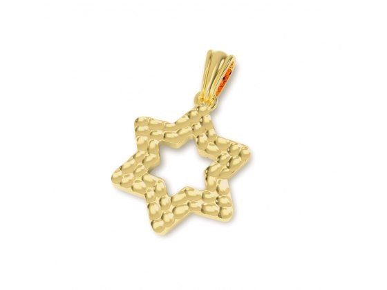 Textured 14K Gold Star of David Necklace