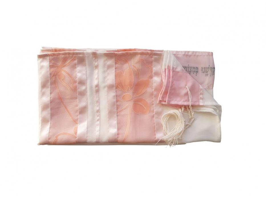 Galilee Silks Crepe de Chin Silk Peach And Pink Silk Floral Women's Tallit