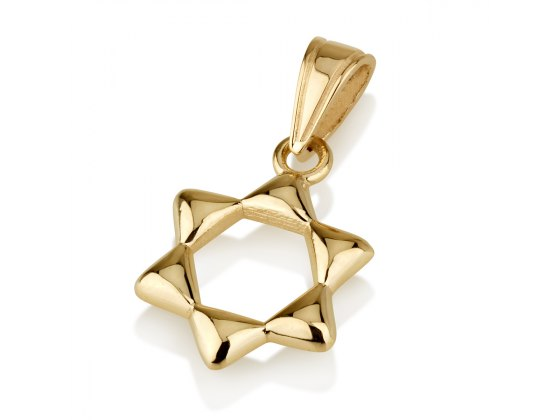 14K Bright Yellow Gold Star of David Necklace Rounded Design