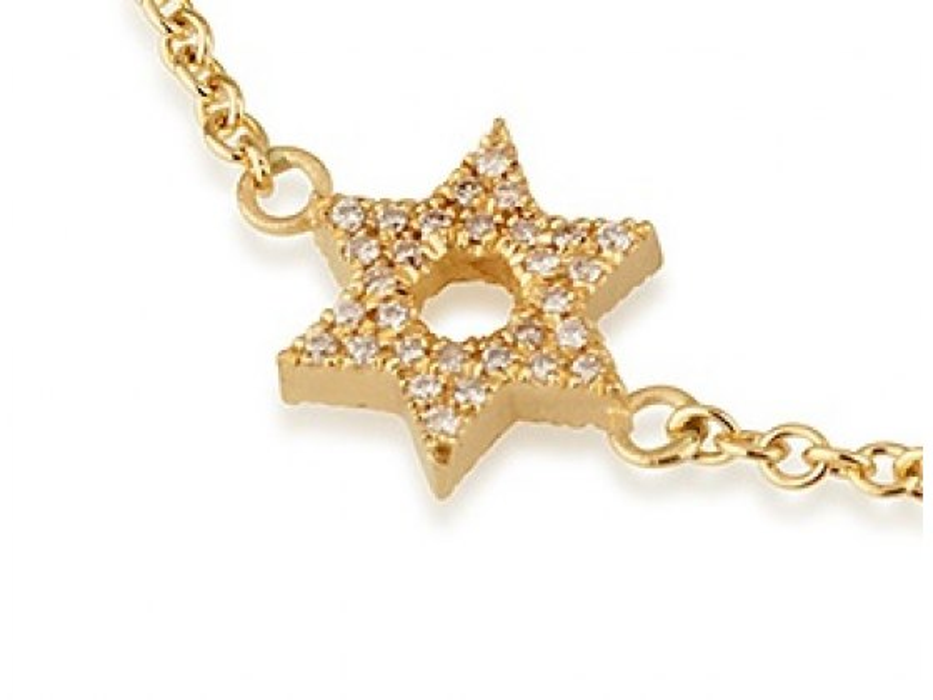14K Gold and Diamonds Star of David Bracelet
