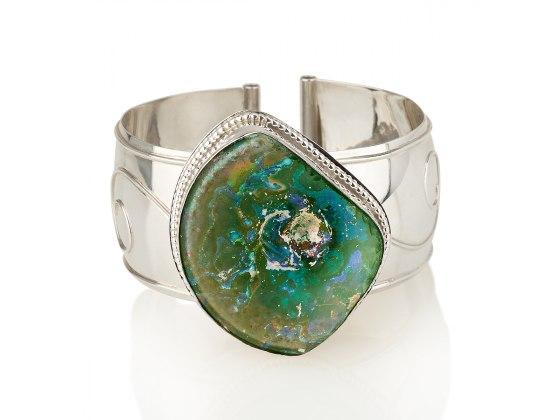 Sterling Silver Cuff Bracelet with Roman Glass in Filigree Frame