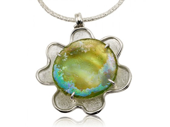 Handmade Roman Glass Necklace with Silver Flower Frame
