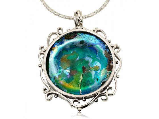 Handmade Roman Glass Necklace with Silver Curl Shape Frame