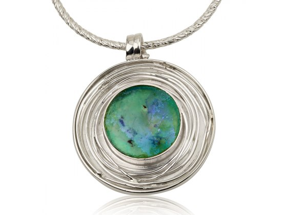 Roman Glass Necklace with Sterling Silver Circle Frame
