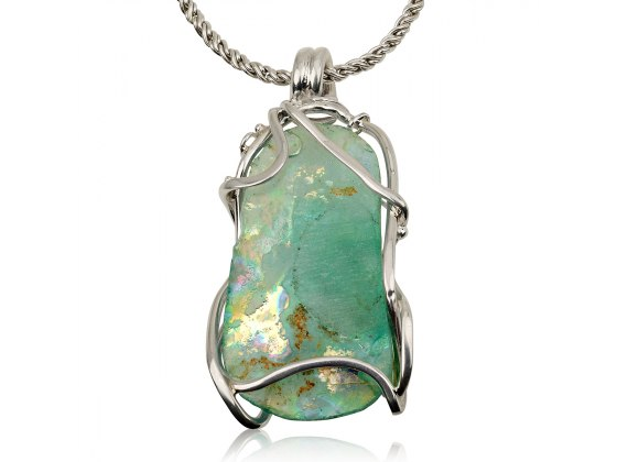 Roman Glass Necklace with Sterling Silver Curve Frame