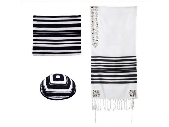 Yair Emanuel Tallit with Black Stripes And Pomegranate Embroidery