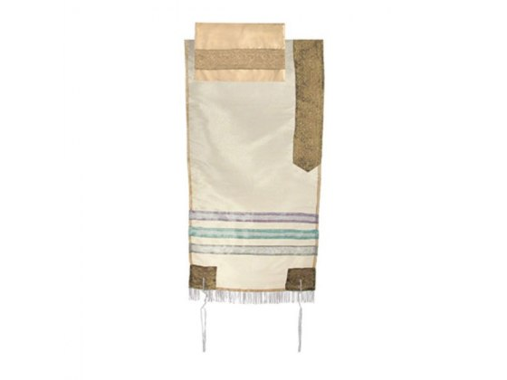 Yair Emanuel Gold Tallit with Blue Stripes