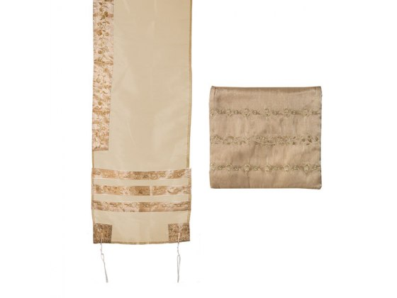 Yair Emanuel Gold Tallit with Embroidered Stripes