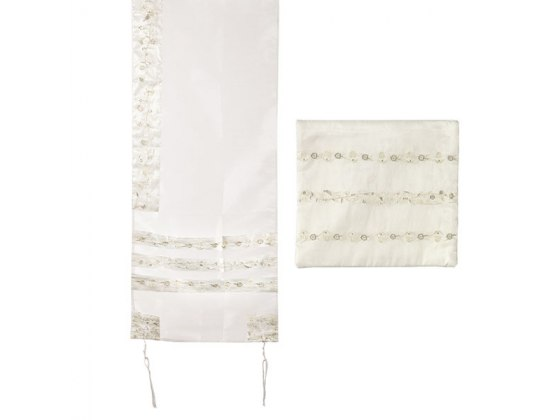 Yair Emanuel White Tallit with Embroidered Stripes