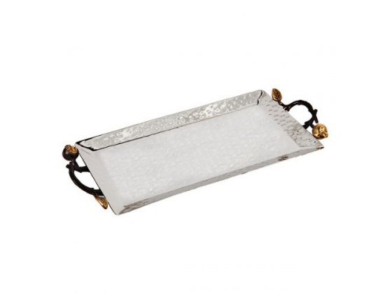 Yair Emanuel Extra Large Hammered Stainless Steel Rectangular Tray With Pomegranate Branch Handles