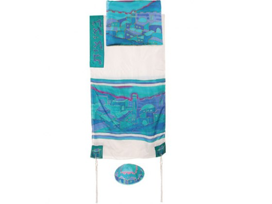 Yair Emanuel White Silk Tallit with Handpaineted Turquoise Vista Jerusalem