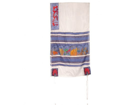Yair Emanuel White Silk Tallit with Handpainted 12 Tribes