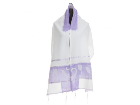 White Silk Women's Tallit with Purple Floral Pattern