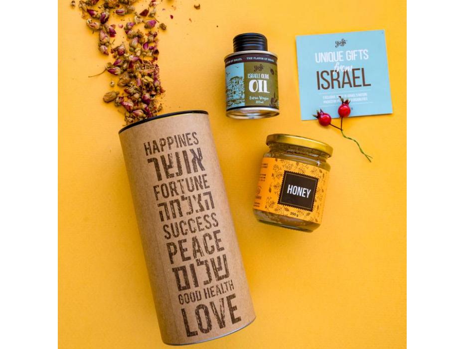 Taste of Israel New Year Gift Box Tube Israeli Olive Oil and Honey