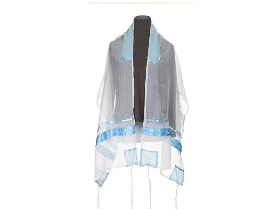 White Tallit Prayer Shawl with Blue Paisley Stripes