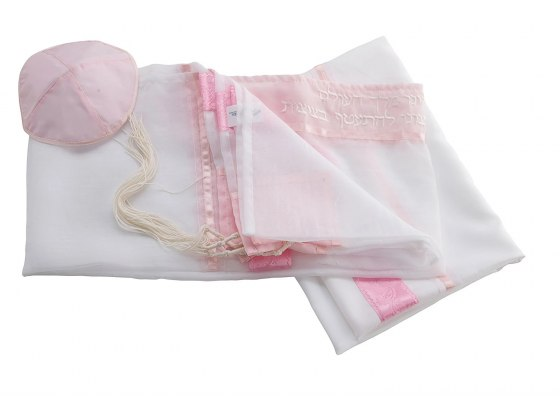 Hand Painted White Prayer Shawl with Pink Paisley Stripes