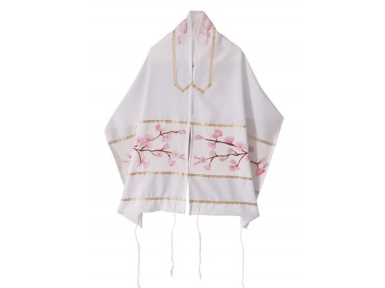 Polyester Women's Tallit with Hand Painted Cherry Blossoms By Galilee Silks