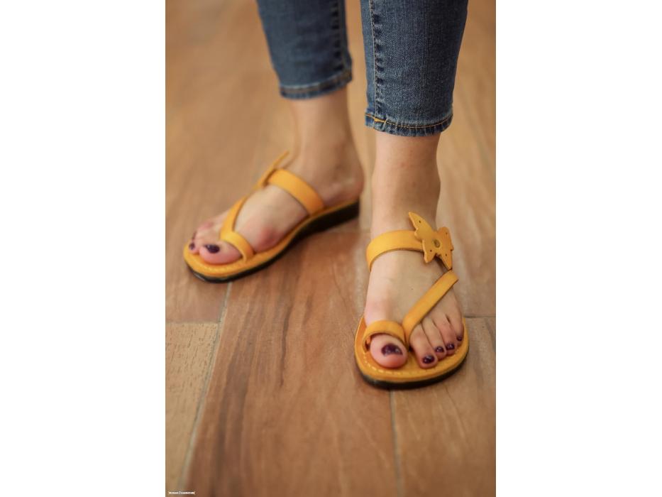 Yellow Butterfly Flip-flop Handmade Leather Biblical Sandals - Yael