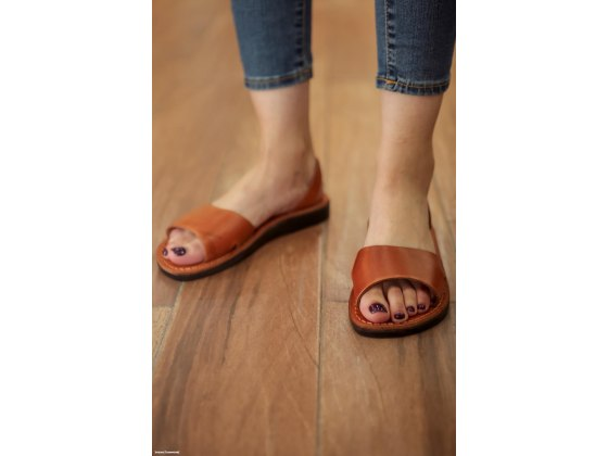 Honey Handmade Leather Sandals Wide Strap Narrow Ancle Strap - Gideon