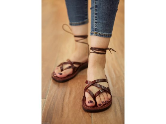 Crisscross Handmade leather Sandals with Roman Laces - David