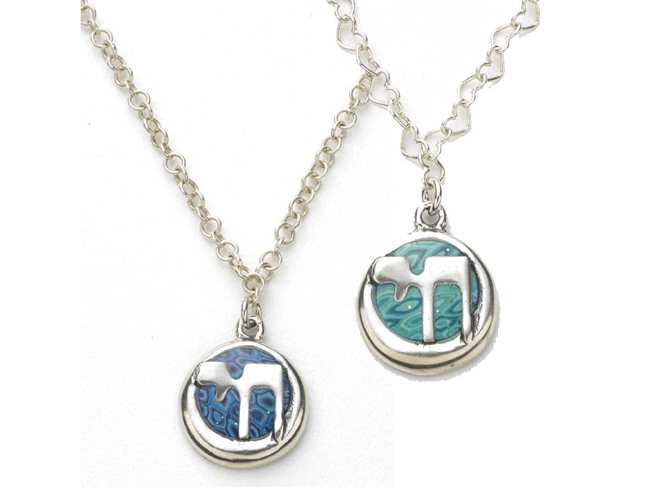 Adina Plastelina - Round Chai Pendant (Silver)