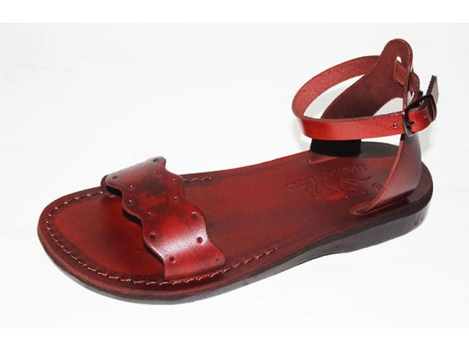 Adjustable Ankle Front wide Strap Handmade Leather Sandals- Sigal