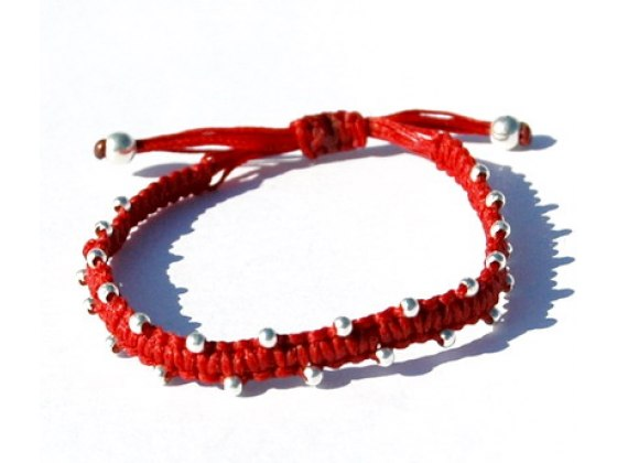 Kabbalah Red String Bracelet with Silver Bead Accents