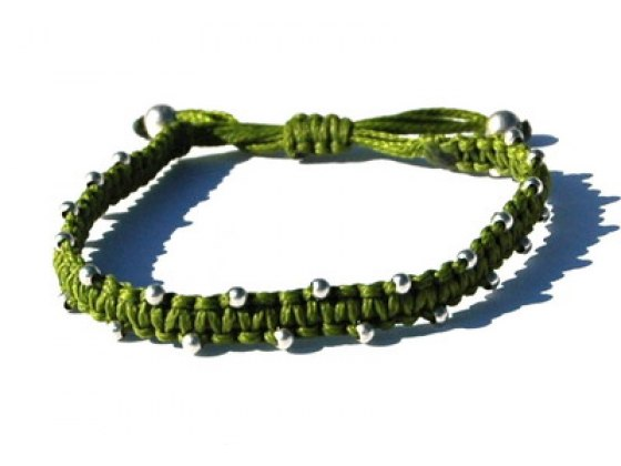 Adjustable String Bracelet with Silver Bead Accents, Green